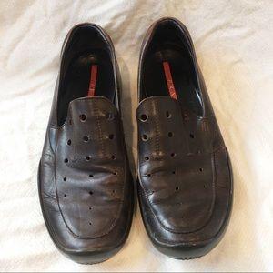 [PRADA] Men's leather slip on summer loafers